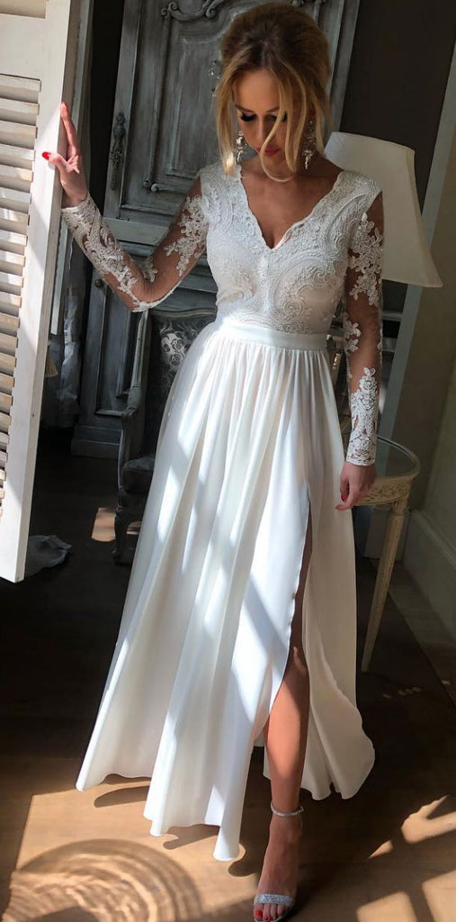 White v neck lace long prom dress, white lace bridesmaid dress