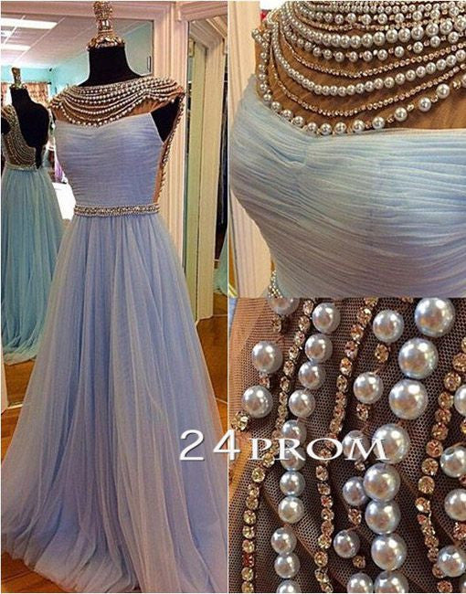 Round Neck Tulle Pearl Light Blue Prom Dresses, Formal Dresses