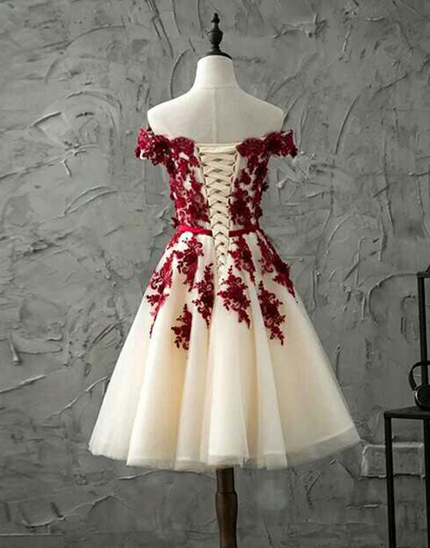 Burgundy lace tulle short prom dress, burgundy lace homecoming dress