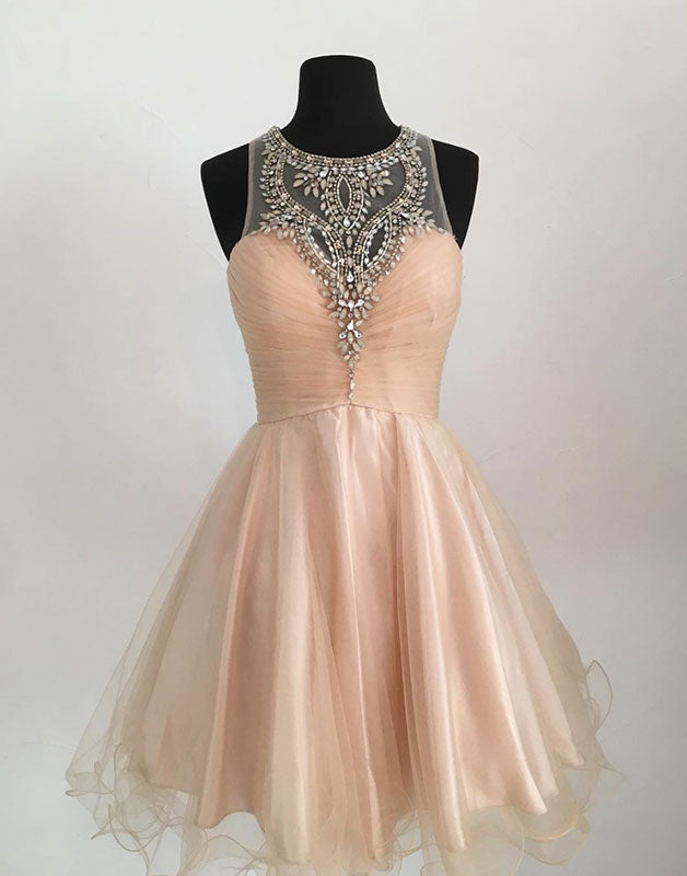 Champagne tulle short prom dress, cute homecoming dress