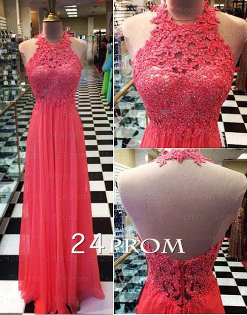 Red  Chiffon lace Long Prom Dresses, Formal Dresses