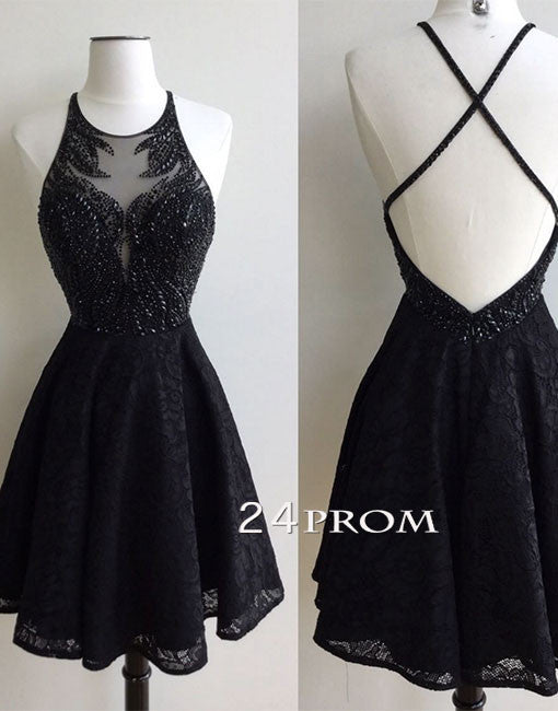 Black round neck lace beaded short prom dress, cute homecoming dress