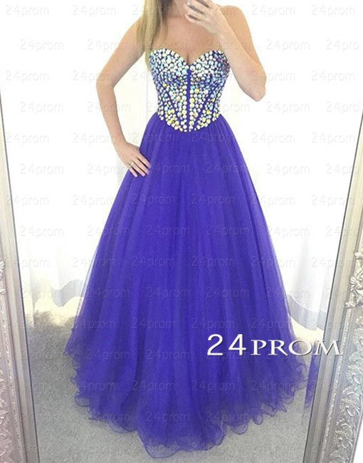 Sweetheart Neck Tulle Long Purple Prom Dresses, Formal Dresses