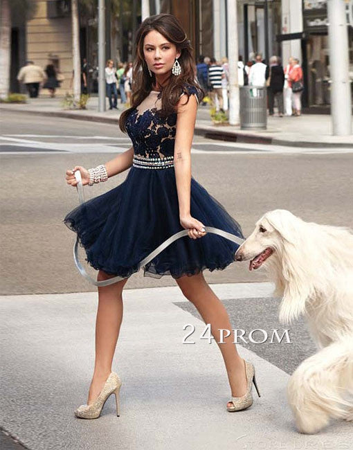 Blue A-line Round Neckline Lace Short Prom Dresses, Homecoming Dresses
