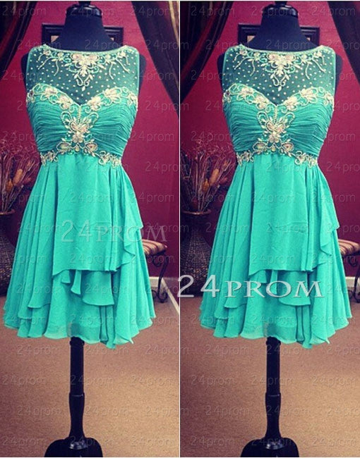 Custom Made Green A-line Chiffon Sweetheart Short Prom Dresses, Homecoming Dresses