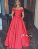 Red satin off shoulder long prom gown, evening dress