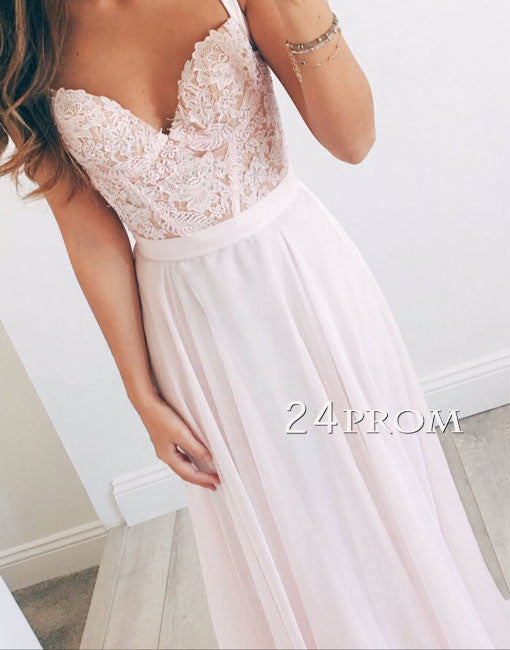 Sweetheart A-line chiffon lace long prom dress, formal dress