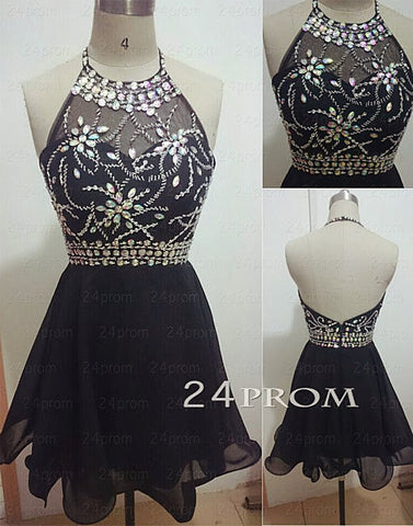Black Backless Rhinestone Short Prom Dresses, Homecoming Dresses