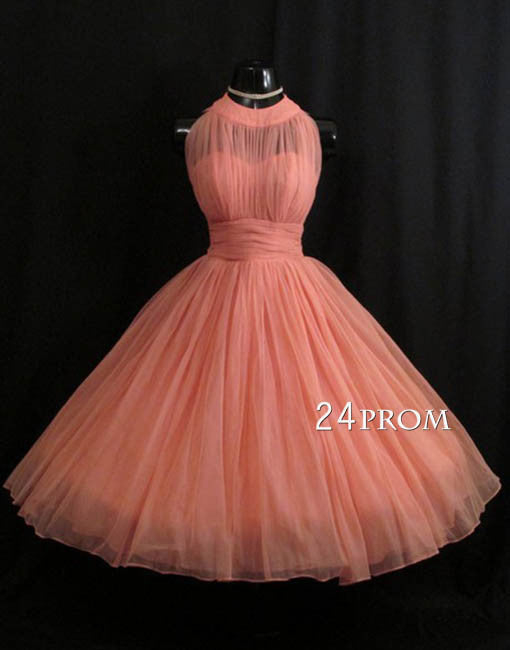 Custom made round neck tulle short prom gown, homecoming dress