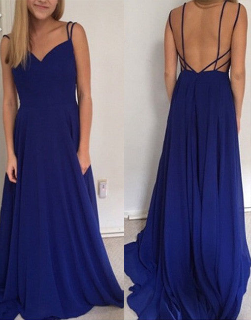 Simple Royal Blue long prom dress, backless evening dress