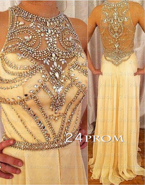 Champagne Round neckline Rhinestone Long Prom Dresses, Formal Dress