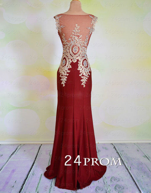 Burgundy Round Neck A-line Lace Long Prom Dress, Evening Dresses