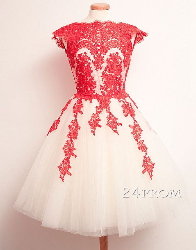 A-line Red Lace Short Prom Dresses, Homecoming Dress, Bridesmaid Dress
