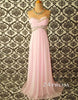 Sweetheart Light Pink Chiffon Long Prom Dresses, Formal Dresses