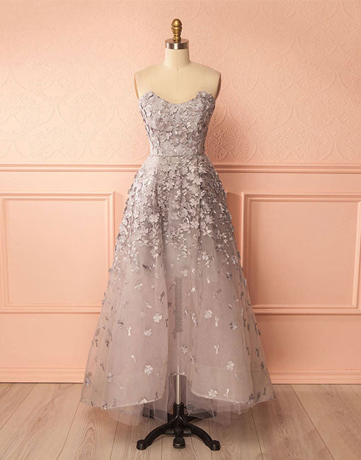 Unique lace applique high low prom dress, applique evening dress