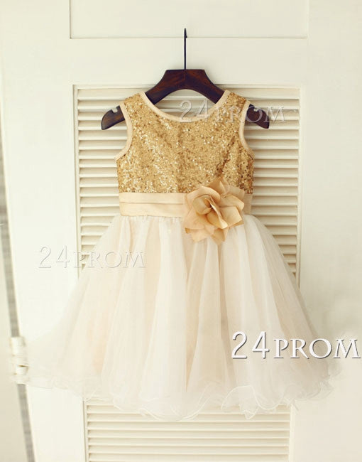 Gold Sequin IvoryTulle Flower Girl Dress Flower Belt Children Toddler Party Dress