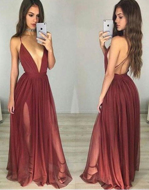 simple v neck tulle burgundy long prom dress, evening dress