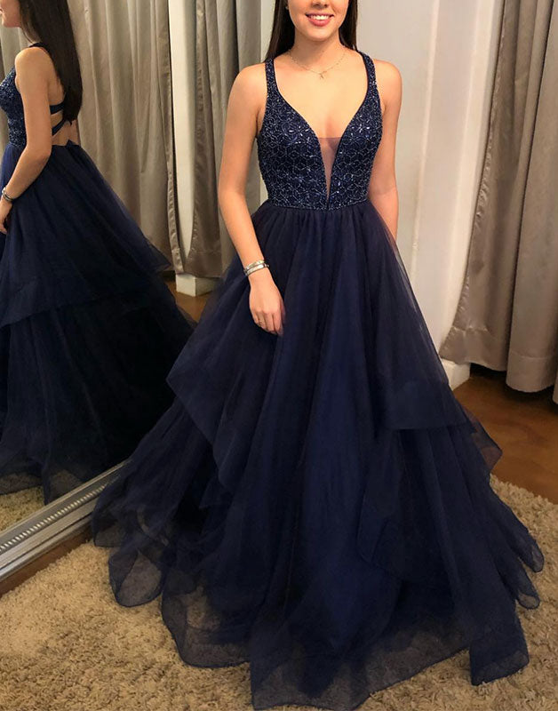 Dark blue tulle v neck long prom dress tulle formal dress