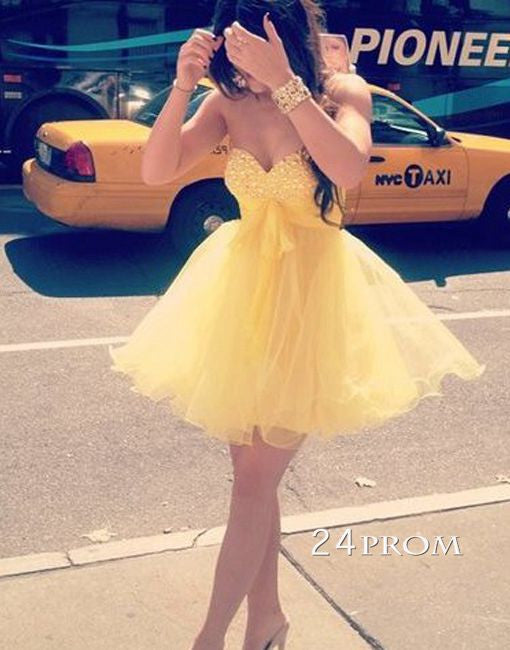 Yellow Mini Sweetheart Prom Dress,Homecoming Dress