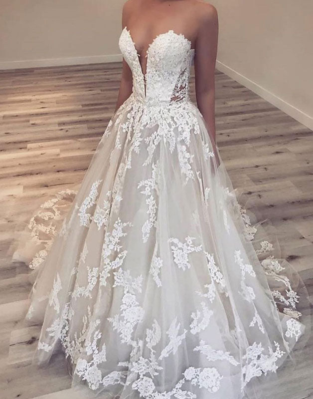 White lace long prom dress, white tulle lace evening dress