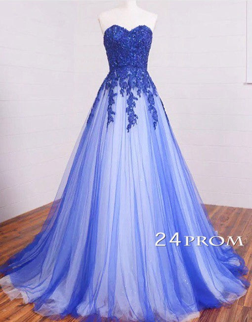 Sweetheart A-line Lace Tulle Long Prom Dresses, Formal Dresses