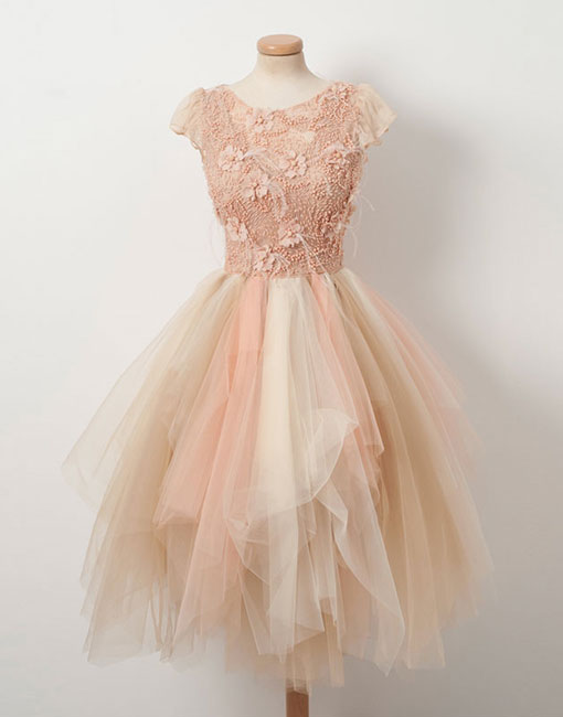 Champagne round neck tulle beads short prom dress, homecoming dress