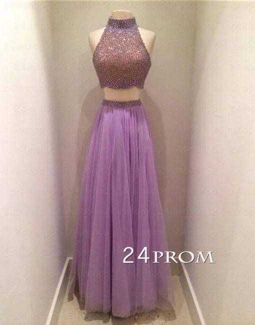 Purple Tulle Long Prom Dresses, Formal Dresses