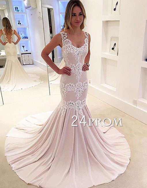 Custom made lace mermaid long prom dress, evening dress