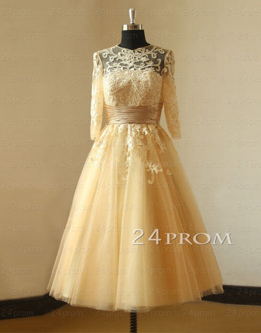 Vintage Champagne Tea Length Lace Prom Dress Wedding With