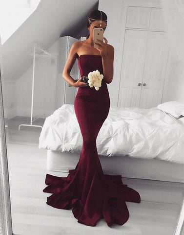 Elegant burgundy mermaid long prom dress, burgundy evening dress