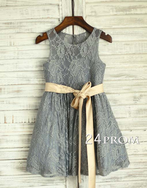 Gray Round Neck Flower Girl Dress with Satin Sash