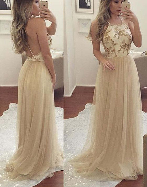 77ab6c3208cd Champagne tulle long prom dress, champagne evening dress – prom24