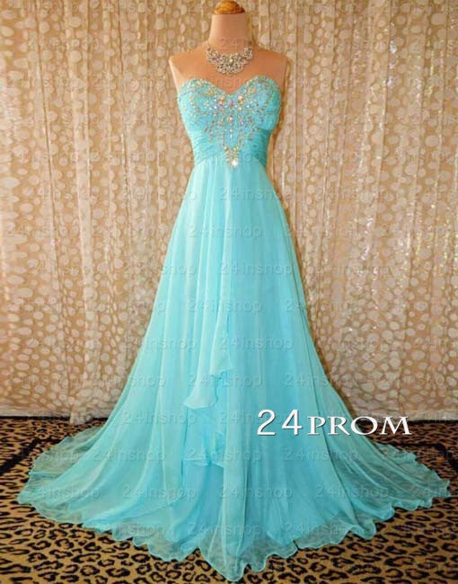 Blue A-line Sweetheart Sweep Train Long Prom Dresses,Evening Dresses