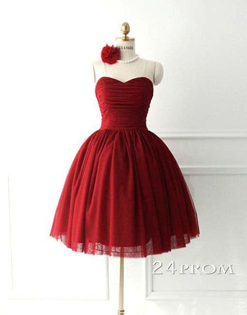 Sweetheart Neckline Tulle Red Short Prom Gown, Bridesmaid Dress
