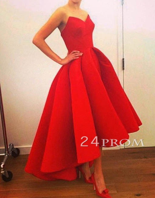 Red sweetheart tea length prom gown, evening dress