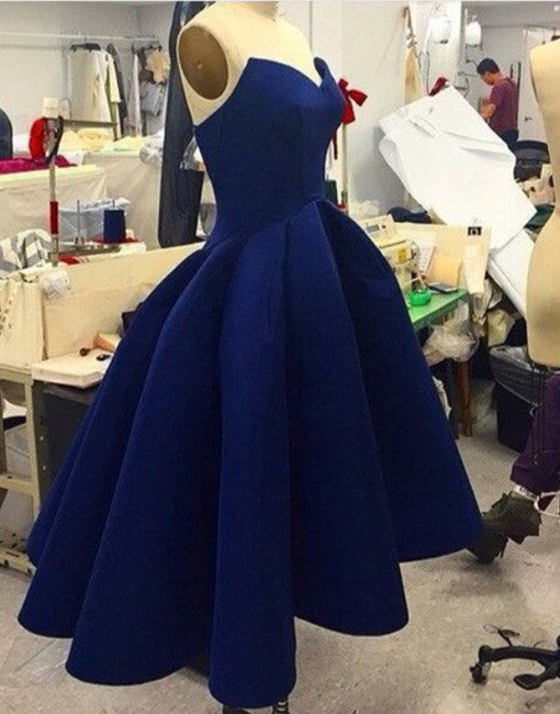 Custom made blue sweetheart tea length prom gown, evening dress