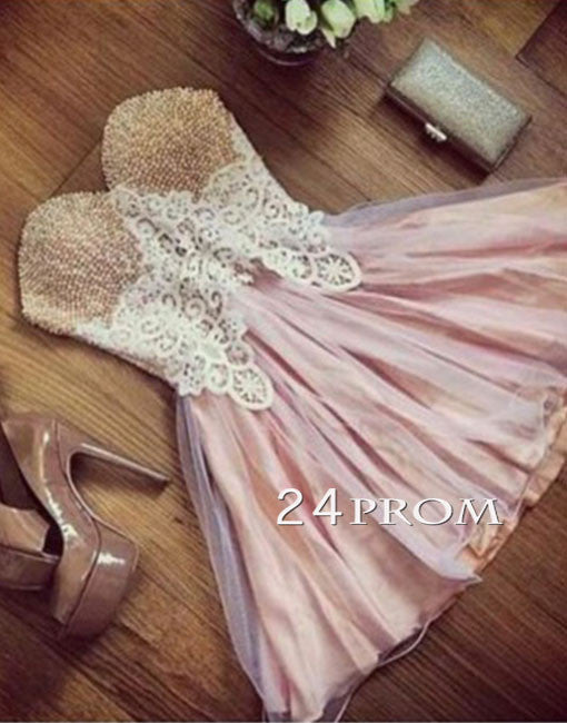 Custom made sweetheart neck bead short prom dress, cute homecoming dress