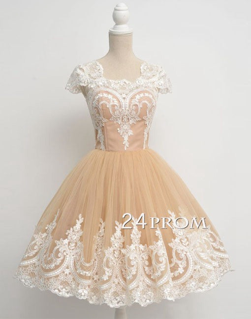 Champagne ball gown tulle lace short prom dress, homecoming dress
