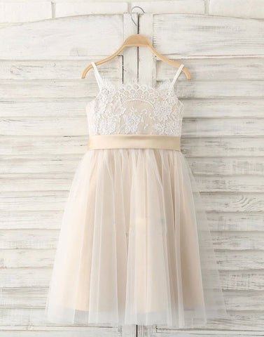 champagne lace flower girl dress, baby dress