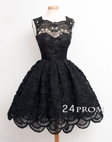 Round neckline Black Lace Short Prom Dresses, Homecoming Dress