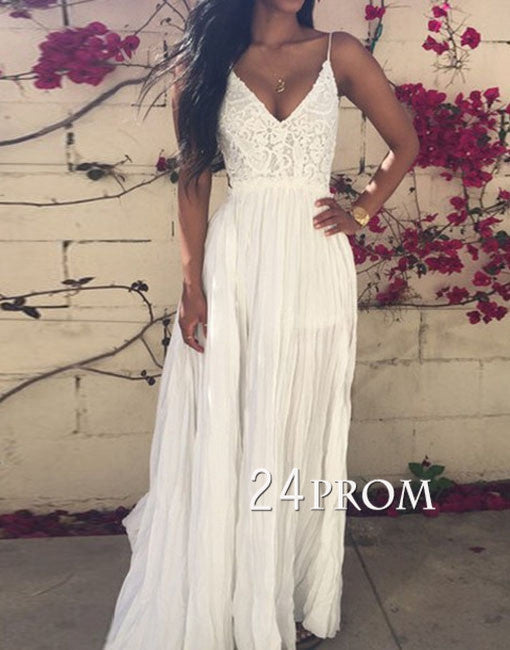 White A-line Chiffon Lace Backless Long Prom Dress,Formal Dress