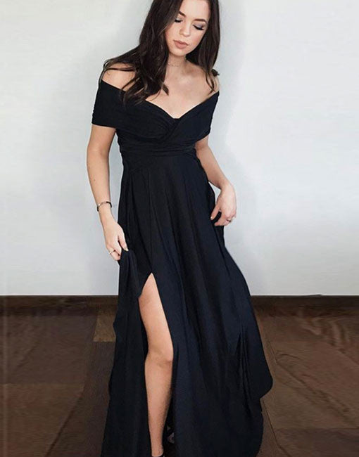 Pretty Black Long Prom Dress Black Evening Dress Prom24