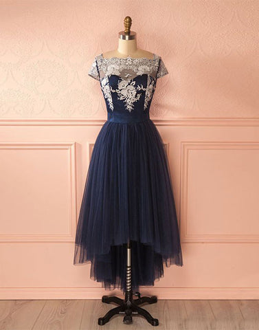 Cute dark blue tulle lace high low prom dress, dark blue bridesmaid dress