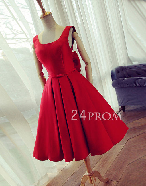 be6d81aa1ed Red round neck satin short prom dress