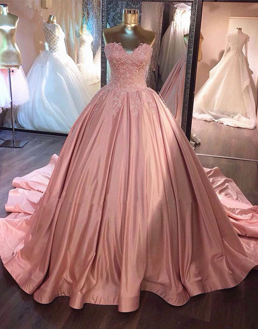 Pink sweetheart lace long prom gown, sweet 16 dress, evening dress