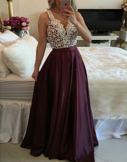 Burgundy beaded lace long prom dress, burgundy evening dress