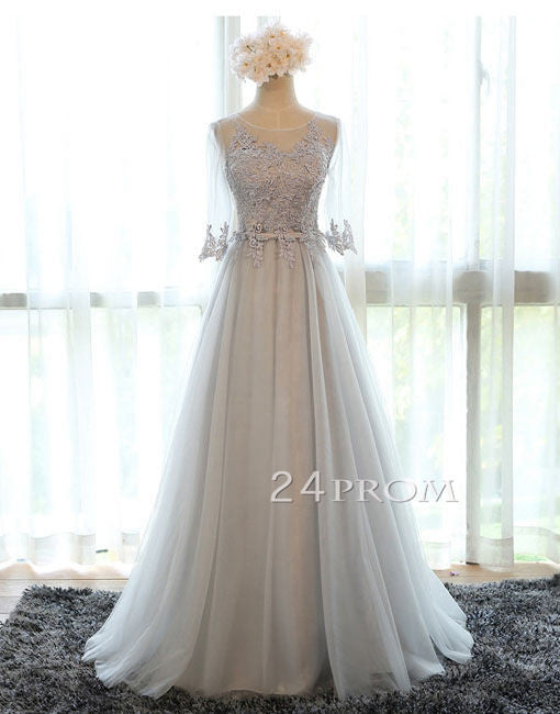 Gray A-line tulle lace applique long prom dress, formal dress