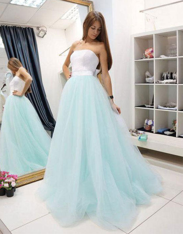 Unique tulle two pieces long prom dress, tulle evening dress