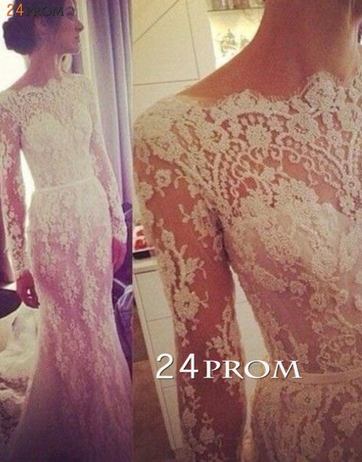 Custom Made A-line Long Sleeve Lace Wedding Dresses, Wedding Dress