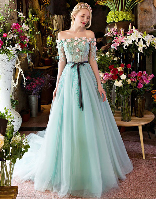 Unique A Line Lace Tulle Green Long Prom Dress Green Evening Dress